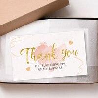 30 sztuk/paczka folia złota karta dziękuję za wsparcie mojej małej wizytówki mały sklep prezent ozdobny karty