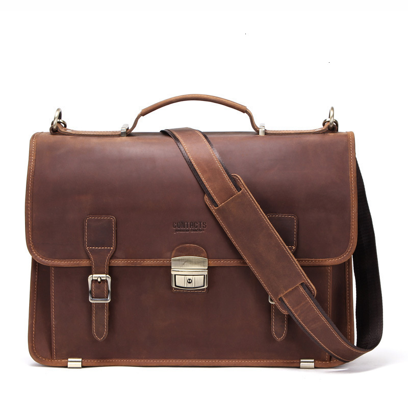Luxury Briefcases 14 Inch Notebook Computer Genuine Leather Mens Brown Laptop Messenger Bag Business Affairs Designer Handbags