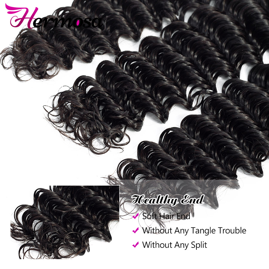 H7239d5148ed04a83b848829d97b5c456y Hermosa Brazilian Deep Wave Bundles With Closure Double Weft Non-Remy Human Hair Bundles With Closure Natural Black Middle Ratio