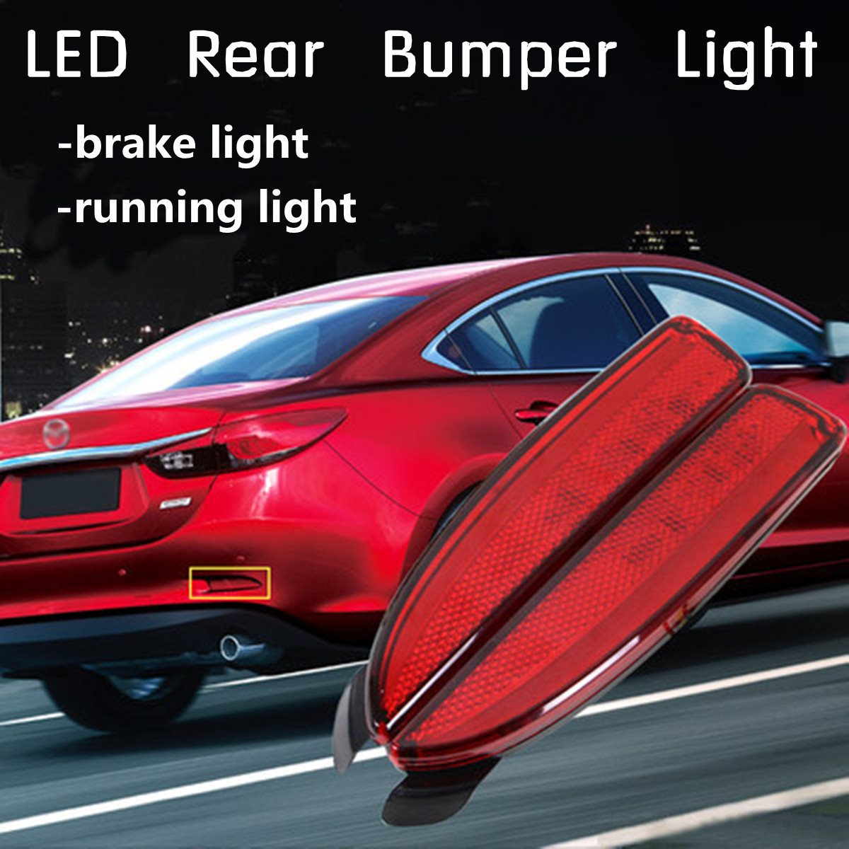 2Pcs <font><b>LED</b></font> Rear Bumper Reflector Tail Brake Stop Running <font><b>Light</b></font> For <font><b>Mazda</b></font> <font><b>6</b></font> ATENZA 2014-2016 image