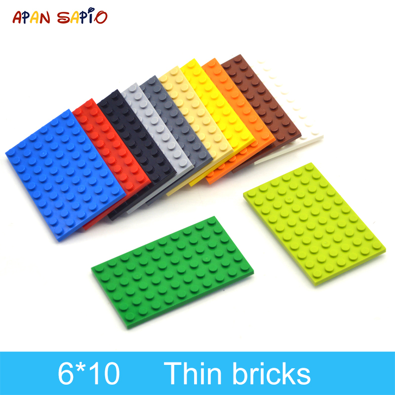 10pcs DIY Building Blocks Thin Figures Bricks 6x10 Dots 12Color Educational Creative Size Compatible With Lego Toys For Children