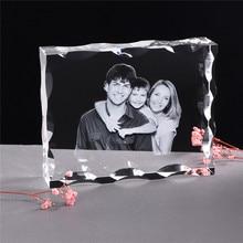 Zdjęcie niestandardowe kryształowa ramka na zdjęcia personalizuj grawerowany laserem Album fotograficzny kwadratowy obraz ślubny prezent dla gości pamiątkowy prezent