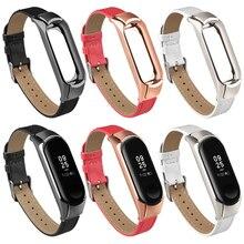 Xiao mi mi fascia 3/4 della cinghia Di Cuoio per Xiao mi mi fascia 3 braccialetto di ricambio senza Viti cinghie Cinturino In Metallo Per mi fascia 4 accessori