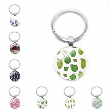 2019 New Charm Fashion Flower Plant Art Picture Keychain Green Cactus Glass Convex Round Beautiful Key Ring Jewelry
