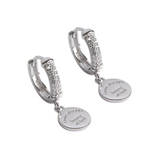 цены S925 sterling silver ear buckle micro-encrusted geometry English tag female earrings silver earrings student earrings