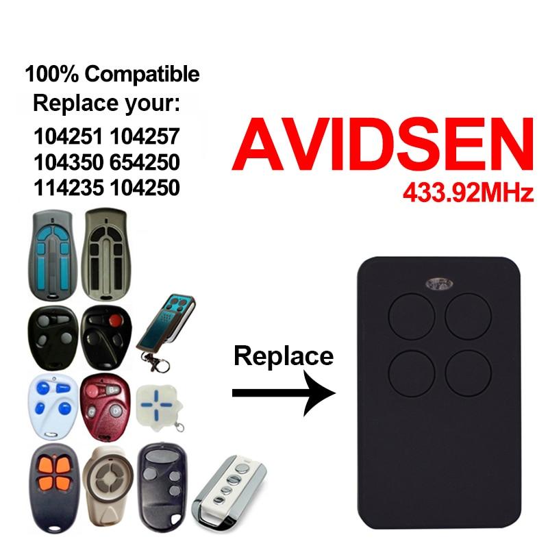 Clone AVIDSEN 104251 104257 104350 654250 114235 104250 AVIDSEN Garage Gate Remote Control AVIDSEN 433.92mhz Rolling Code