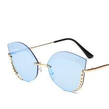 2019 New frameless trimmed trendy Sunglasses Cat Eye Ms. Euro-American