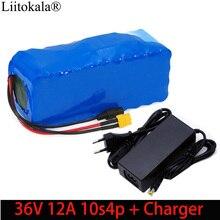 Liitokala Paquete de batería de iones de litio XT60, 36V, 12Ah, 10s4p, 18650, enchufe de equilibrio para coche, motocicleta, patinete eléctrico, BMS + cargador