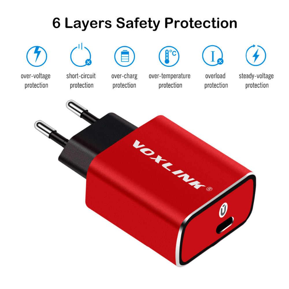 VOXLINK 18 واط سريع USB Type-c تهمة QC3.0 الجدار/السفر USB-C شاحن آيفون x xs xr 8 زائد سامسونج S9 شاومي mi8 هواوي p30 LG