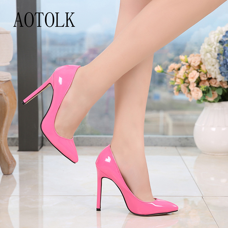 Women Shoes High Heels Sliver Office Lady Pumps Fashion Sexy Thin Heels Shoes Patent Leather Confortable Pointed Toe Pumps DE