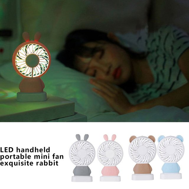 Creative Usb Charging Small Fan Led Handheld Portable Mini Charging Colorful Night Light Student Fan