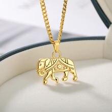 Слон ожерелье для мужчин и женщин золотого серебряного цвета