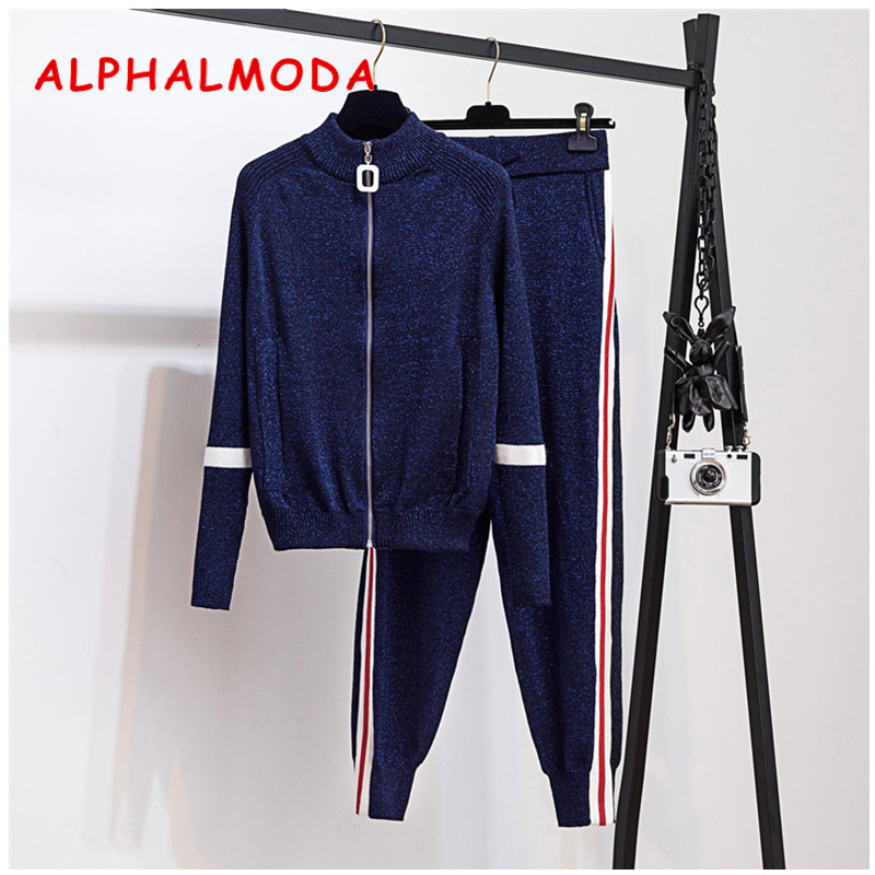 ALPHALMODA 2019 Autumn New Sparkling Knit Tracksuits Color Striped Zipper Cardigans Women Fashion Trendy Knitting 2pcs Set