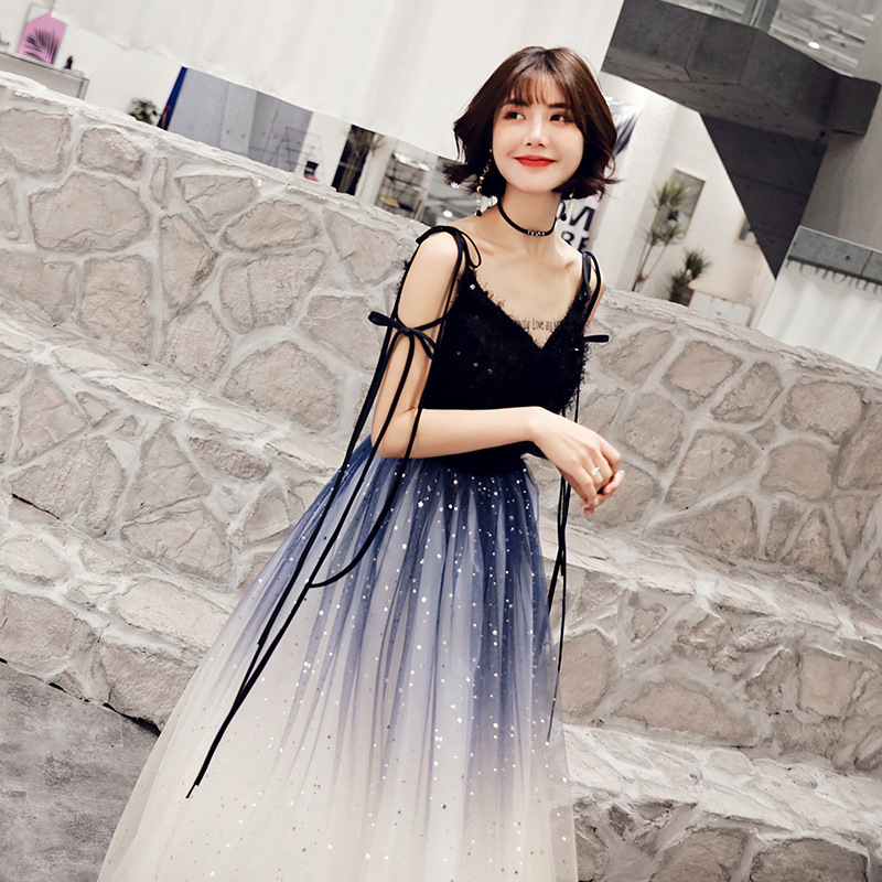 2020 Time-limited Beach Bridesmaid Dresses Long New Dress Female Dust Fantasy Party Evening 2020 Autumn, Parties Show Thin Sky