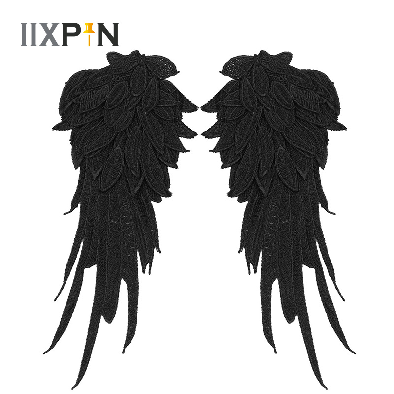 Black Wings Angel Wings Cosplay Wings Embroidered Patch Fabric Iron-on Sew-on Patches Badges Angel Wings Applique Cosplay Wings