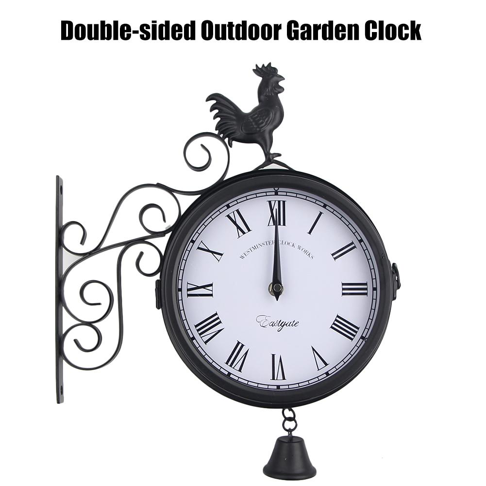 wall-clock-outdoor-garden-double-sided-wall-clock-wrought-iron-european-style-retro-hanging-clock-with-cockerel-bell-shape-decor