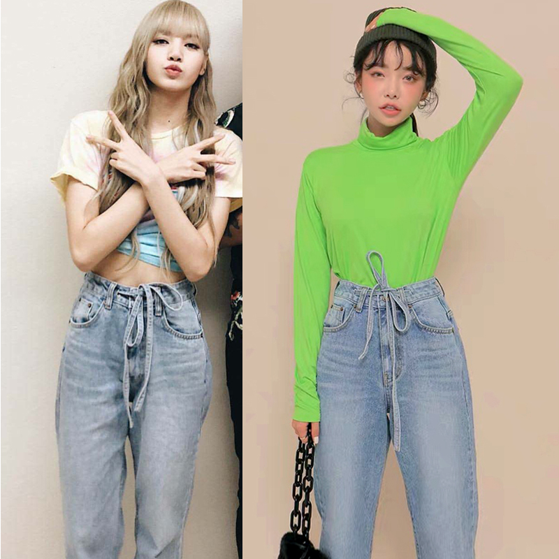 Kpop Blackpink Lisa Same Korean Retro Loose Blue Denim Wide Leg Jeans Women 2019 Summer Casual High Waist Straight Lace-Up Jeans