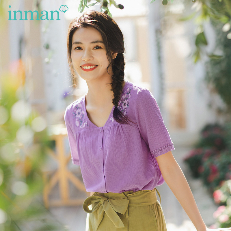 INMAN Summer New Arrival French Elegant Style Artsy Embroidery Lace Sleeve Breathable Material Short Sleeve Blouse