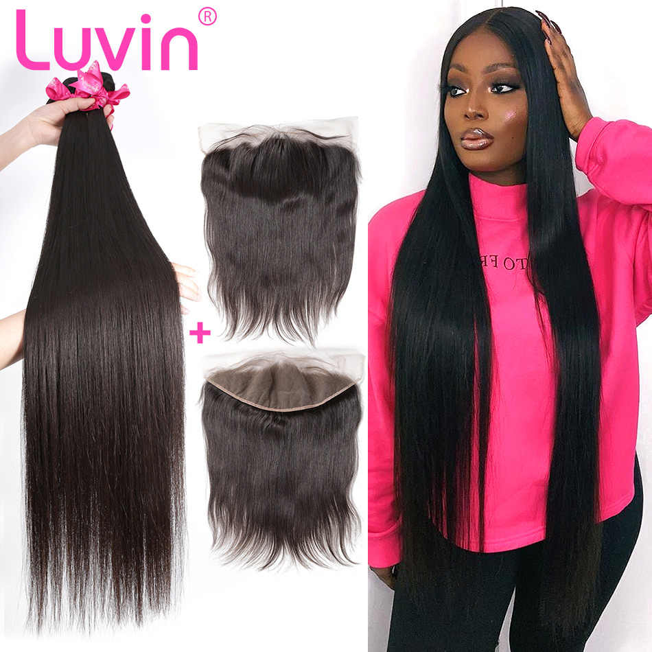 Luvin 8- 28 30 32 34 40 Inch Peruvian Hair Weave 3 4 Bundles With 13x4 Lace Frontal Closure Remy Natural Straight Human Hair And