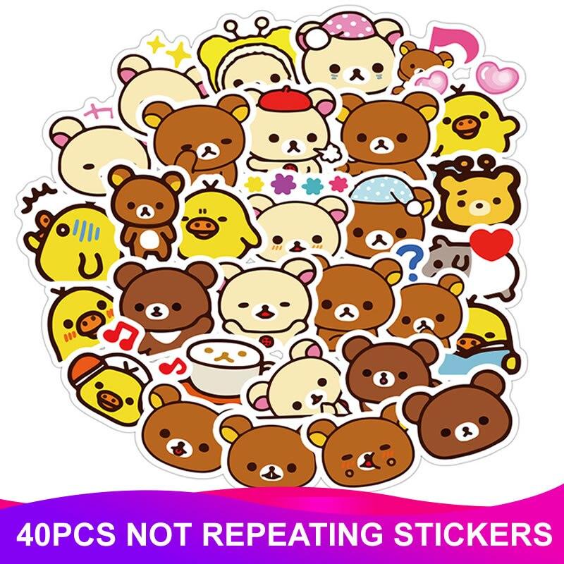 40pcs/Pack Girl Cartoon Rilakkuma Stickers Waterproof PVC Skateboard Luggage Suitcase Guitar Scrapbooking Funny Kids Sticker