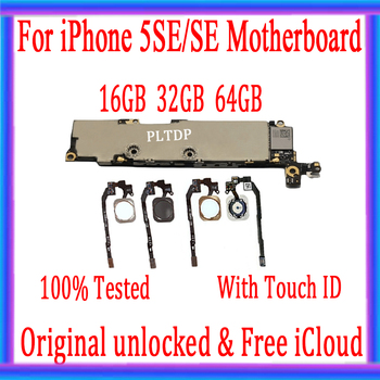 For iPhone SE Original Unlocked Motherboard with Fingerprint Mainboard Free icloud IOS MainBoard With Touch ID Full Function