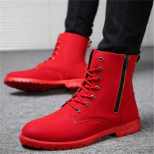 2020 Winter Warm Shoes Men Boots British Red High Top Mens Army Boots Korean Zipper Men's Snow Boots Cowboy Boots for Men Black