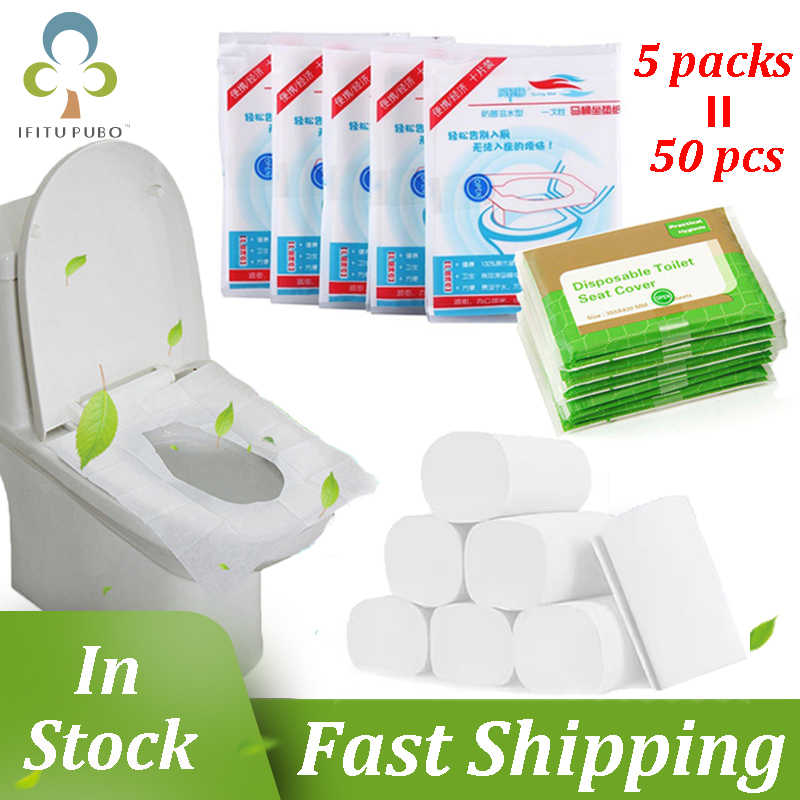 HICOO Tama/ño Universal Asientos para Inodoro para Viajes Ba/ños P/úblicos Maternidad 50 Piezas Asiento de Inodoro Desechable Paquete Individual