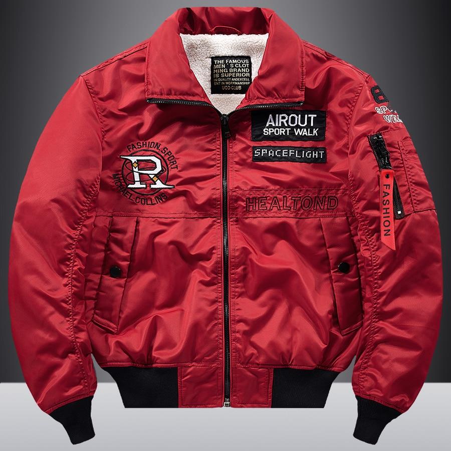 Blouson aviateur rouge et blanc hommes veste dautomne militaire hommes américain Jaket Bomber manteau dhiver hommes japonais Streetwear épais HH30JK