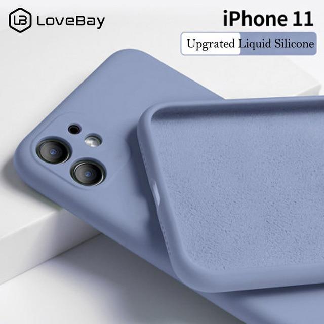 Lovebay couleur bonbon coque de téléphone pour iPhone 11 11 Pro Max Silicone liquide solide uni pour iPhone 11 coque souple coque arrière en TPU 1