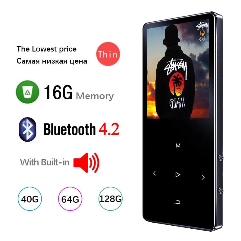 Bluetooth mp3 player de alta fidelidade metal portátil música walkman com gravação de rádio fm built-in alto-falante toque chave 1.8 Polegada tela tft