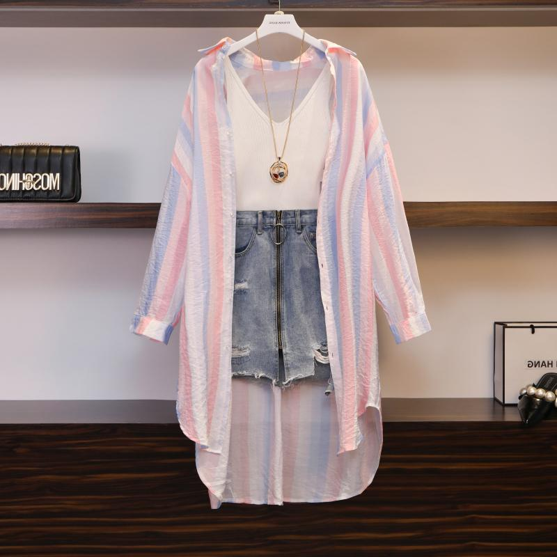 2019 Oversized 4XL Women's Summer Belly Cover Suit Slimming Three-piece Dress