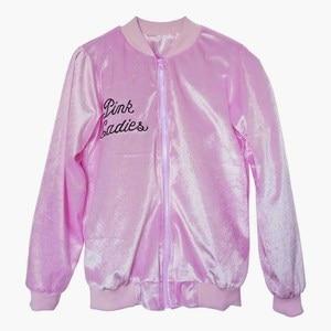 Image 4 - 1950s Pink Ladies Jacket Women Girls Long Sleeve Pleuche Lightweight Bomber Jacket Grease Movie Halloween Family Costumes