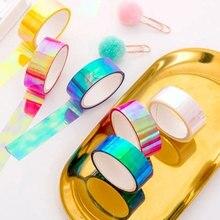10pcs/Lot Creative Rainbow Laser PE Sticker Tape Scrapbooking Decorative DIY Waterproof Craft Planner Office School Supplies
