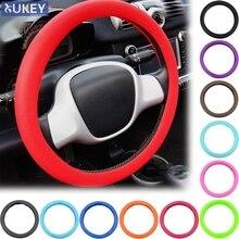 Revêtement volant en silicone auto voiture texture cuir revêtement de volant en silicone doux en peau multicolore universel