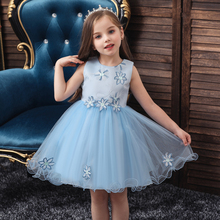 Vgiee Kids Dresses for Girls Wedding Princess Dress Knee-Length Flowers Sleeveless Little CC600