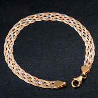 Upscale 18k True Real Solid Genuine Gold AU750 Tri Tone Waving Bracelets Bangle for Women Female 2019 Fancy Trendy Jewelry Gift