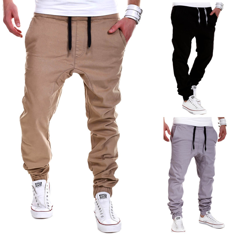 Hot Selling Men Europe And America With Drawstring Elastic Beam Leg Baggy Pants Elasticity Open-crotch Pants MEN'S Trousers