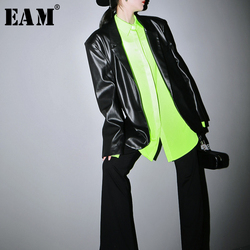 [EAM] Loose Fit Black Pu Leather Brief Big Size Jacket New Lapel Long Sleeve Women Coat Fashion Tide Spring Autumn 2020 1H072