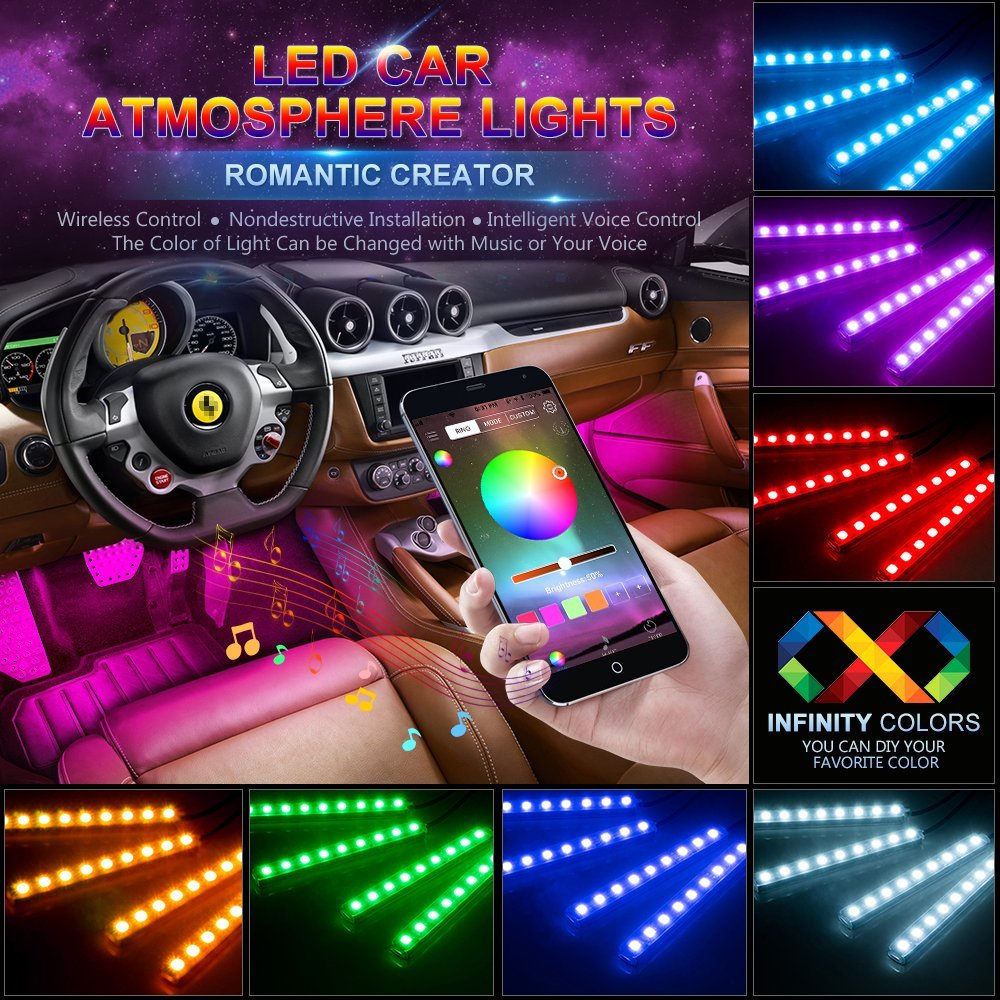 Car LED Strip Lights 4pcs 48 LED Bluetooth App Controller Interior Lights Multi Color Music Car Strip Light Under Dash
