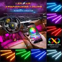 Tiras de luz LED de coche 4 Uds 48 LED Bluetooth App Controller luces interiores Multi Color música Banda de luces para automóvil bajo el tablero