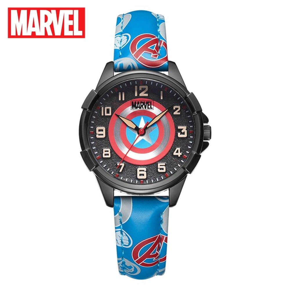 Captain America Spider Men Boys Quartz Waterproof Watches Child Round Fashion Sport Watches Disney Luxury Gift Clock Kids Time