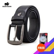 BISON DENIM Cinturón de cuero auténtico para hombre, correa de lujo de alta calidad, hebilla clásica de Pin, W71564