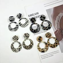 American stage Sexy Leopard Pattern zebra pattern acrylic ear nails concise circular geometry long earrings wholesale(China)