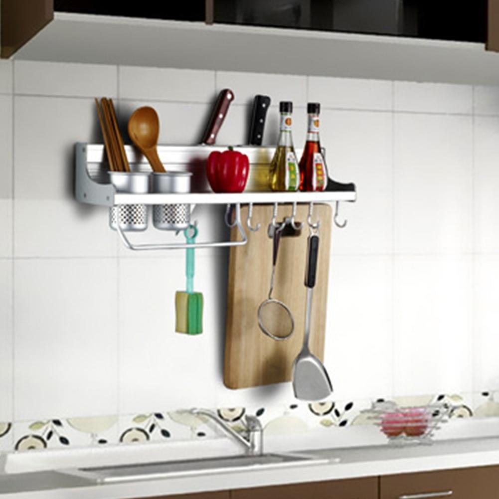 Aluminum Kitchen Shelf Rack Cooking Utensil Tools Hook Rack Kitchen Storage Wall Mount Spice Seasoning Corner Shelves