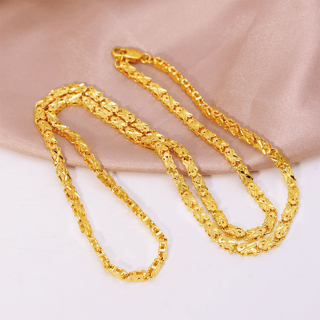 XP Jewelry -- ( 62 cm x 4 mm ) Embroidery Necklace for Women 24 k Pure Gold Color Hot Buy Embroidery Jewelry Fashion Nickel Free