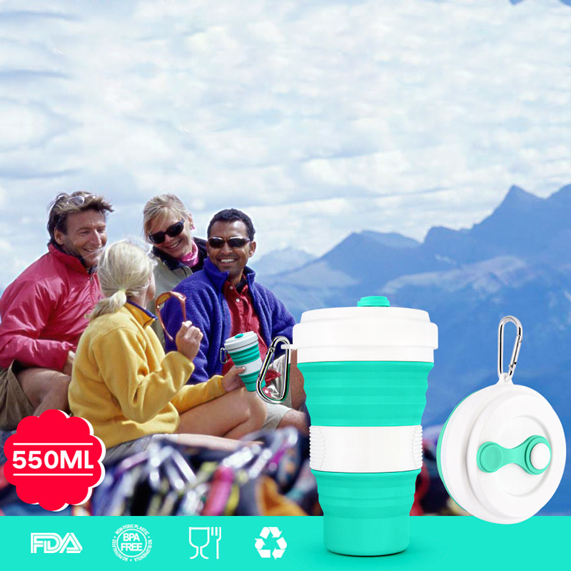 5 color Portable Travel Cup 550ml Folding Silicone Telescopic Drinking Collapsible coffee cup folding silica cup with Lids