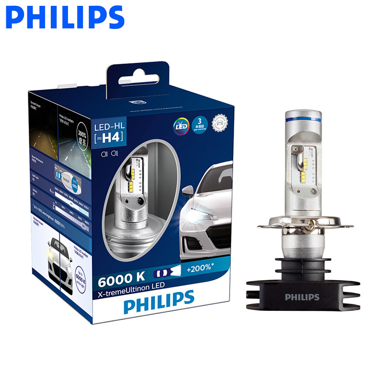 <font><b>Philips</b></font> <font><b>LED</b></font> H4 <font><b>H7</b></font> H8 H11 H16 9005 9006 X-treme Ultinon <font><b>LED</b></font> Car <font><b>Headlight</b></font> Fog Lamps 6000K Cool White +200% Brighter Bulbs, Pair image