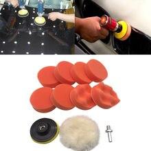 Kit d'éponges à polir 3 pouces pour véhicule, 10 pièces, brosses de nettoyage de voiture avec adaptateur de perceuse, roue de polissage, combinaison d'éponges