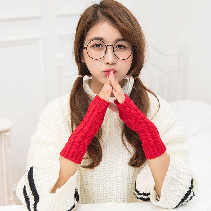 Solid Winter Gloves Women Knitted Fingerless Ladies Gloves Fashion Arm Warmer Mittens Women Glove Winter Warm Wrist With Wool