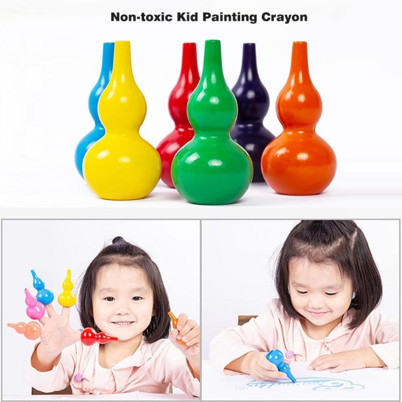 12pcs Kids Safety Non-toxic  Moisture-proof  Brilliant Colour Color Crayons Cute 3D Kindergarten School Stationery Art Supplies